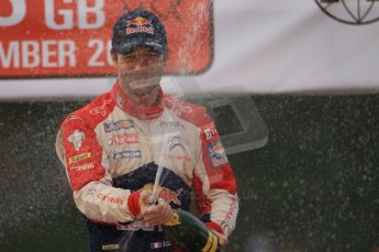 © North One Sport Ltd 2011 / Octane Photographic Ltd 2011. 13th November 2011 Wales Rally GB, Podium. Newly Crowned 8 times champions Sebastien Loeb sprays the Champagne. Digital Ref : 0201cb1d9825