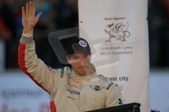 © North One Sport Ltd 2011 / Octane Photographic Ltd 2011. 13th November 2011 Wales Rally GB, Podium. Chris Meeke salutes his fans after a stunning drive in his Mini John Cooper Works. Digital Ref : 0201cb1d9917