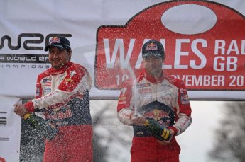© North One Sport Ltd 2011 / Octane Photographic Ltd 2011. 13th November 2011 Wales Rally GB, Podium. Newly Crowned 8 times champions Sebastien Loeb and co diver Daniel Elena spray the Champagne. Digital Ref : 0201lw7d0125
