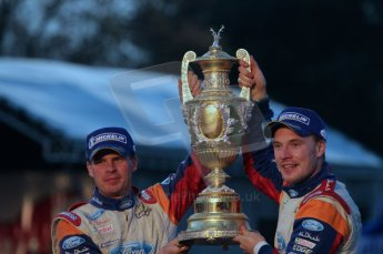 © North One Sport Ltd 2011 / Octane Photographic Ltd 2011. 13th November 2011 Wales Rally GB, Podium. Rally winners Jari-Matti Latvala and Miikka Antilla hoist the enormous winners trophy. Digital Ref : 0201lw7d0939