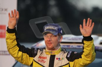 © North One Sport Ltd 2011 / Octane Photographic Ltd 2011. 13th November 2011 Wales Rally GB, Podium. Henning Solberg salutes the crowd. Digital Ref : 0201lw7d0954
