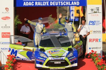© North One Sport Ltd.2011/Octane Photographic Ltd. WRC Germany – Final Podium - Sunday 21st August 2011. Dennis Kuipers and Frederic Miclotte - Ford Fiesta RS WRC. Digital Ref : 0153CB1D6284