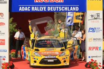 © North One Sport Ltd.2011/Octane Photographic Ltd. WRC Germany – Final Podium - Sunday 21st August 2011. Henning Solberg and Ilka Minor - Ford Fiesta RS WRC. Digital Ref : 0153CB1D6309