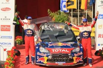 © North One Sport Ltd.2011/Octane Photographic Ltd. WRC Germany – Final Podium - Sunday 21st August 2011. Sebastien Ogier and Julian Ingrassia - Citroen DS3 WRC. Digital Ref : 0153CB1D6437