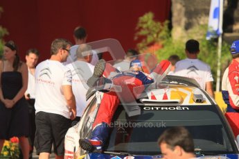 © North One Sport Ltd.2011/Octane Photographic Ltd. WRC Germany – Final Podium - Sunday 21st August 2011. Julien Ingrassia relaxes on the roof of his Citroen DS3 WRC. Digital Ref : 0153CB1D6444