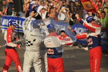 © North One Sport Ltd.2011/Octane Photographic Ltd. WRC Germany – Final Podium - Sunday 21st August 2011. Sebastien Ogier, Julien Ingrassia and Daniel Sordo soak Carlos Corral in champaign. Digital Ref : 0153CB1D6475