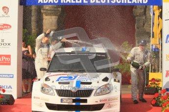 © North One Sport Ltd.2011/Octane Photographic Ltd. WRC Germany – Final Podium - Sunday 21st August 2011. Hans Wiejs Jr and Bjorn Degandt - Skoda Fabia S2000. Digital Ref : 0153CB1D6529