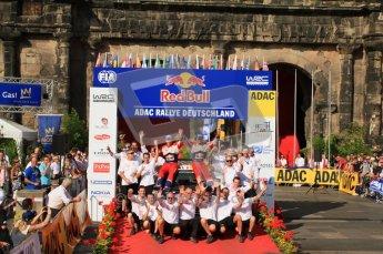 © North One Sport Ltd.2011/Octane Photographic Ltd. WRC Germany – Final Podium - Sunday 21st August 2011. Sebastien Ogier, Julian Ingrassia and Citoren team - Citroen DS3 WRC. Digital Ref : 0153CB7D0790