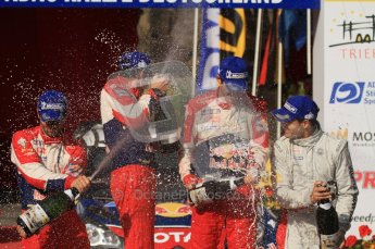 © North One Sport Ltd.2011/Octane Photographic Ltd. WRC Germany – Final Podium - Sunday 21st August 2011. Champaign fight - Sebastien Loeb, Sebastien Ogier, Julien Ingrassia and Daniel Sordo. Digital Ref : 0153LW7D0191