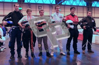 © Octane Photographic Ltd. 2012. Autosport International 2012 Celebrity Karting for the Race To Recovery charity. 12th January 2012. Alex MacDowell, Seb Morris, Paul Rivett and Josh Webster. Digital Ref : 0206cb1d0342