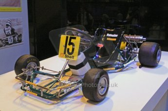 © Octane Photographic Ltd. 2012. Autosport International F1 Cars Old and New. Ayrton Senna's Kart in the Senna display. Digital Ref : 0207cb7d0191