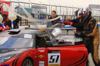 © Octane Photographic Ltd. Britcar MSA British Endurance Championship practice session 21st April 2012. Donington Park. Richard Adams/David Green/Marton Byford, Lotus Evora pitstop. Digital Ref : 0298lw7d6555