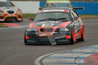 © Octane Photographic Ltd. BritCar Production Cup Championship race. 21st April 2012. Donington Park. Kevin Clarke/Wayne Gibson, Intersport Racing, BMW M3. Digital Ref : 0300lw1d2216