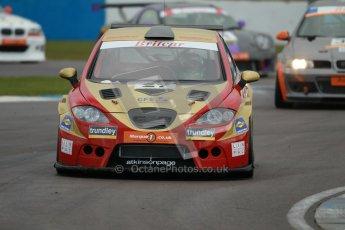 © Octane Photographic Ltd. BritCar Production Cup Championship race. 21st April 2012. Donington Park. Bernard and Stefan Hogarth, Seat Leon Supercopa. Digital Ref : 0300lw1d2433
