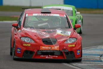 © Octane Photographic Ltd. BritCar Production Cup Championship race. 21st April 2012. Donington Park. David and Rex Nye, Seat Leon Supercopa. Digital Ref : 0300lw1d2472