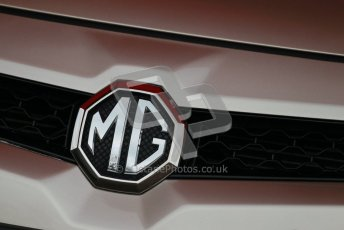 © Octane Photographic Ltd. BTCC - Round Two - Donington Park - Quail. Saturday 14th April 2012. MG grill badge. Digital ref : 0294lw1d7611