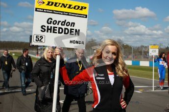 © Octane Photographic Ltd. BTCC - Round Two - Donington Park - Race 1. Sunday 15th April 2012. Gordon Shedden's grid girl awaiting his arrival on the grid. Digital ref : 0295lw1d7646