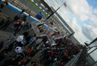 © Octane Photographic Ltd. BTCC - Round Two - Donington Park - Race 1. Sunday 15th April 2012. The post race crowds gather in the pitlane. Digital ref : 0295lw1d8023