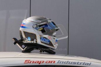 © Octane Photographic Ltd. BTCC - Round Two - Donington Park - Race 1. Sunday 15th April 2012. MAtt Neal's helmet. Digital ref : 0295lw7d4106