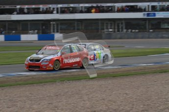 © Octane Photographic Ltd. BTCC - Round Two - Donington Park - Race 2. Sunday 15th April 2012. Liam Griffin and Rob Collard racing hard through Redgate. Digital ref : 0296lw7d5075
