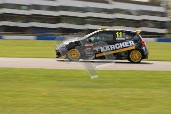 © Octane Photographic Ltd. BTCC - Round Two - Donington Park. AirAsia Renault UK Clio Cup Championship practice. Saturday 14th April 2012. Simon Belcher, Handy Motorsport with Pyro. Digital ref : 0292lw7d3003