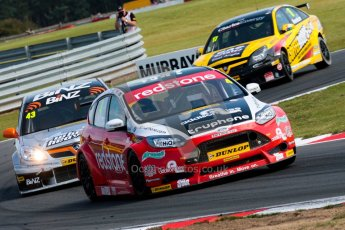 © Octane Photographic Ltd./Chris Enion. British Touring Car Championship – Round 6, Snetterton, Sunday 12th August 2012. Race 2. Mat Jackson - Redstone Racing, Ford Focus, Lea Wood - BINZ Racing, Vauxhall Vectra and Dave Newsham - Team ES Racing.com, Vauxhall Vectra. Digital Ref : 0456ce1d0223