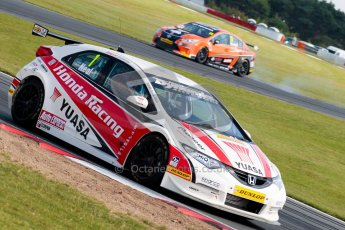 © Octane Photographic Ltd./Chris Enion. British Touring Car Championship – Round 6, Snetterton, Sunday 12th August 2012. Race 2. Matt Neal - Honda Yuasa Racing Team, Honda Civic and Frank Wrathall - Dynojet, Toyota Avensis. Digital Ref : 0456ce1d0246