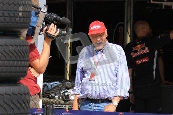 © 2012 Octane Photographic Ltd. Hungarian GP Hungaroring - Saturday 28th July 2012 - F1 Qualifying. Niki Lauda yawning in front of the Red Bull garage. Digital Ref : 0430lw7d0488