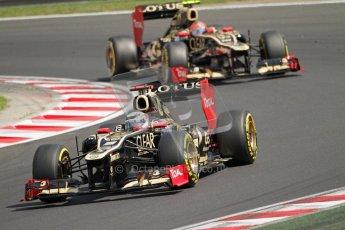 © 2012 Octane Photographic Ltd. Hungarian GP Hungaroring - Saturday 28th July 2012 - F1 Qualifying. Lotus E20 - Kimi Raikkonen and Romain Grosjean. Digital Ref : 0430lw7d7637