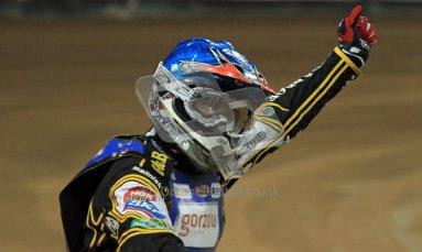 © Carl Jones/Octane Photographic Ltd. FIM FOGO British Speedway GP, Millennium Stadium, Cardiff, Saturday 25th August 2012. Hans Andersen salutes the crowd. Digital Ref : 0480cj7d9521