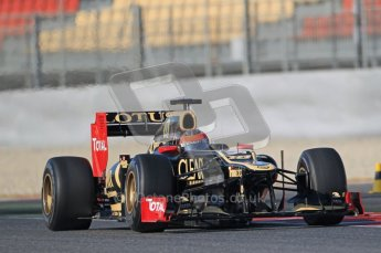 © 2012 Octane Photographic Ltd. Barcelona Winter Test 1 Day 1 - Tuesday 21st February 2012. Lotus E20 - Romain Grosjean. Digital Ref : 0226lw1d7077