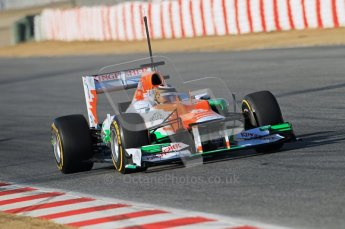 © 2012 Octane Photographic Ltd. Barcelona Winter Test 1 Day 1 - Tuesday 21st February 2012. Force India VJM05 - Nico Hulkenberg. Digital Ref : 0226lw1d7230
