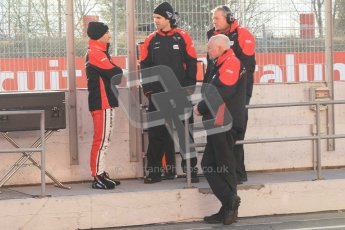 © 2012 Octane Photographic Ltd. Barcelona Winter Test 1 Day 3 - Thursday 23rd February 2012. Marussia - Timo Glock and John Booth on the pitwall. Digital Ref : 0228cb1d9481