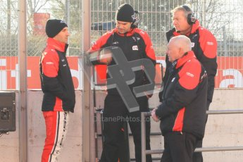 © 2012 Octane Photographic Ltd. Barcelona Winter Test 1 Day 3 - Thursday 23rd February 2012. Marussia  - Timo Glock and John Booth on the pitwall. Digital Ref : 0228cb1d9483