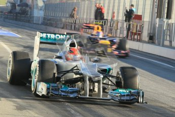 © 2012 Octane Photographic Ltd. Barcelona Winter Test 1 Day 3 - Thursday 23rd February 2012. Mercedes W03 - Michael Schumacher. Digital Ref : 0228cb1d9502