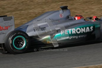© 2012 Octane Photographic Ltd. Barcelona Winter Test 1 Day 3 - Thursday 23rd February 2012. Mercedes W03 - Michael Schumacher. Digital Ref : 0228lw7d3653