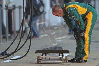 © 2012 Octane Photographic Ltd. Barcelona Winter Test 2 Day 1 - Thursday 1st March 2012. Caterham preparing the pitbox. Digital Ref : 0231cb7d7601