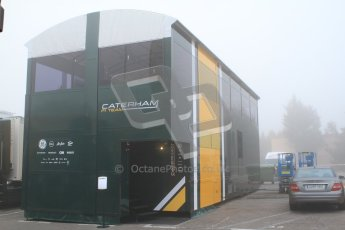 © 2012 Octane Photographic Ltd. Barcelona Winter Test 2 Day 2 - Friday 2nd March 2012. New Caterham mobile base. Digital Ref :
