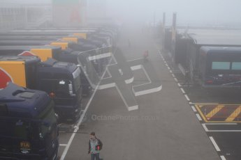 © 2012 Octane Photographic Ltd. Barcelona Winter Test 2 Day 2 - Friday 2nd March 2012. Thick fog in the morning paddock. Digital Ref :