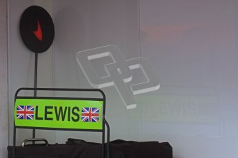 © 2012 Octane Photographic Ltd. Barcelona Winter Test 2 Day 2 - Friday 2nd March 2012. Lewis Hamilton's McLaren pit board. Digital Ref :