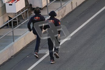 © 2012 Octane Photographic Ltd. Barcelona Winter Test 2 Day 2 - Friday 2nd March 2012. The Toro Rosso mechanics run to recover Jean Eric Vergne's STR7 from the end of the pit lane after the circuit is red flagged. Digital Ref :