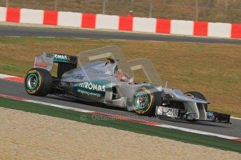 © 2012 Octane Photographic Ltd. Barcelona Winter Test Day 4 - Sunday 4th March 2012. Mercedes W03 - Michael Schumacher. Digital Ref : 0234lw7d4828