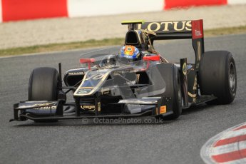 © Octane Photographic Ltd. GP2 Winter testing Barcelona Day 1, Tuesday 6th March 2012. Lotus GP, Esteban Gutierrez. Digital Ref : 0235cb7d0387