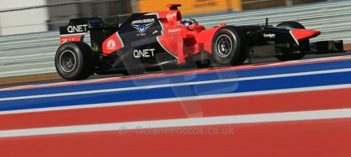 World © Octane Photographic Ltd. F1 USA - Circuit of the Americas - Friday Morning Practice - FP1. 16th November 2012. Marussia MR01 - Timo Glock. Digital Ref: 0557lw1d1006