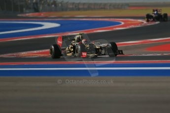 World © Octane Photographic Ltd. F1 USA - Circuit of the Americas - Friday Morning Practice - FP1. 16th November 2012. Lotus E20 - Romain Grosjean. Digital Ref: 0557lw1d1136