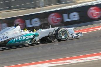 World © Octane Photographic Ltd. Formula 1 USA, Circuit of the Americas - Qualifying. 17th November 2012 Mercedes AMG Petronas F1 W03 - Nico Rosberg. Digital Ref: 0560lw1d3760