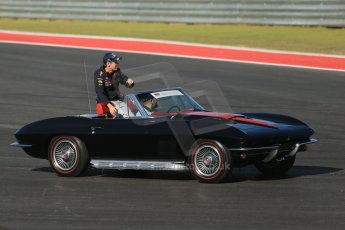 World © Octane Photographic Ltd. Formula 1 USA, Circuit of the Americas - Drivers' Parade - Sebastian Vettel, Corvette Stingray. 18th November 2012 Digital Ref: 0561lw1d3904