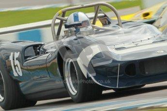 "© Octane Photographic Ltd. 2012 Donington Historic Festival. ""1000km"" for pre-72 sports-racing cars, qualifying. McLaren M1C - Ewan McIntyre/Jamie McIntyre. Digital Ref : 0319cb1d8456"