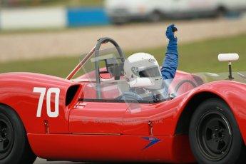 "© Octane Photographic Ltd. 2012 Donington Historic Festival. ""1000km"" for pre-72 sports-racing cars, qualifying. Elva Mk.8 - Dion Kremer/Gabriel Kramer. Digital Ref : 0319cb1d8503"