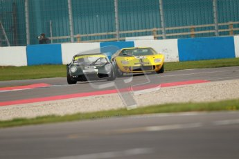 """© Octane Photographic Ltd. 2012 Donington Historic Festival. """"1000km"""" for pre-72 sports-racing cars, qualifying. Chevron B6 - Michael Schryver/Richard Piper and Ford GT40 - Conrad Ulrich/Willie Green. Digital Ref : 0319cb1d8632"""